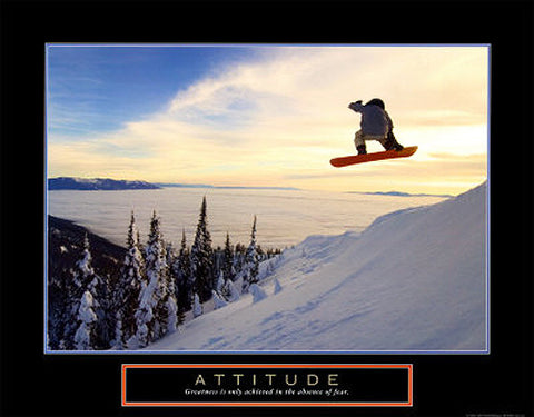 "Snowboarding ""Attitude"" Motivational Poster - Front Line"