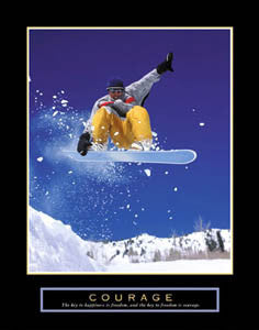 "Snowboarding ""Courage"" (Front Heel Grab) Inspirational Motivational Poster - Front Line Art Publishing"