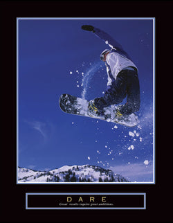 "Snowboarding ""Dare"" Motivational Poster - Front Line"