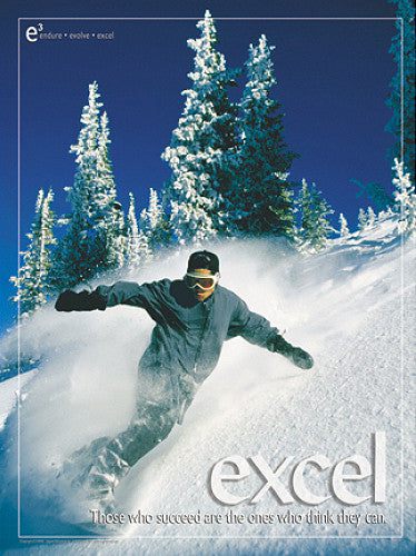 "Snowboarding ""Excel"" Motivational Inspirational Poster - Jaguar Inc."