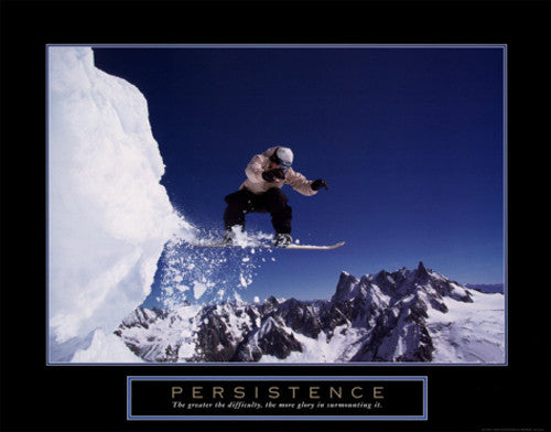 "Snowboarding ""Persistence"" Motivational Poster - Front Line"
