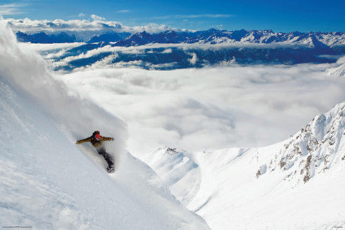 "Snowboarding ""High Mountain Powder Carve"" Winter Sports Action Poster - Import Images"