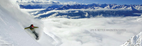 "Snowboarding ""Life is Better When You Shred"" Winter Sports Action Poster - Import Images"