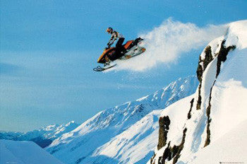 "Snowmobile ""Airborne"" (Snow Machine Racing) Action Poster - GB Eye"
