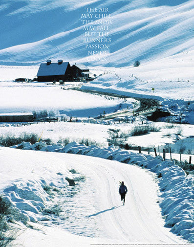 Runner's Passion (Winter Road) Motivational Running Poster