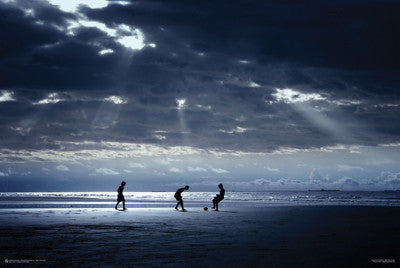Soccer Barefoot on the Beach in Brazil at Sunset Poster - Poster Service Inc.