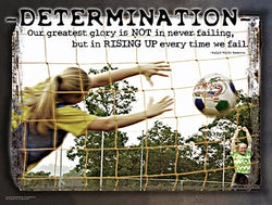 "Soccer ""Determination"" (Girls Soccer) Motivational Poster - Jaguar Inc."
