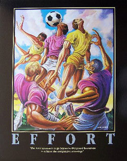"Soccer ""Effort"" Motivational Poster Print by Ernie Barnes - The Art Department"