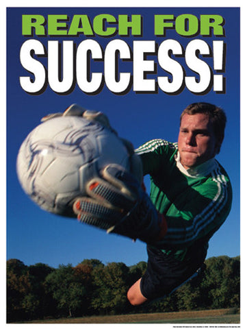 "Soccer Goalkeeper ""Reach For Success"" (Diving Save) Motivational Poster"