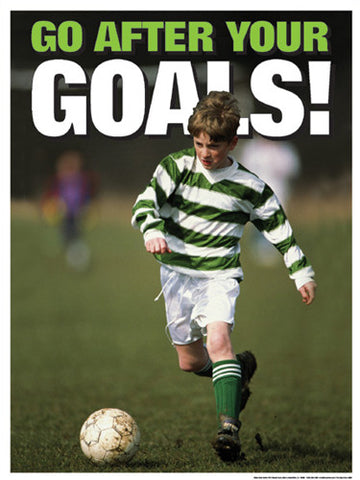 "Youth Soccer ""Go After Your Goals"" Motivational Poster - Fitnus Corp."
