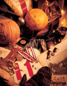 "Vintage Soccer Memorabilia Collage ""Soccer Memories"" Poster Print by Michael Harrison"