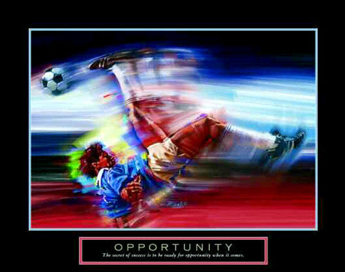 "Soccer Scissor Kick ""Opportunity"" Motivational Poster - Front Line"