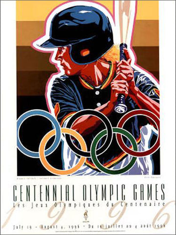 Atlanta 1996 Olympics Softball Official Event Poster by Hiro Yamagata - Fine Art Ltd
