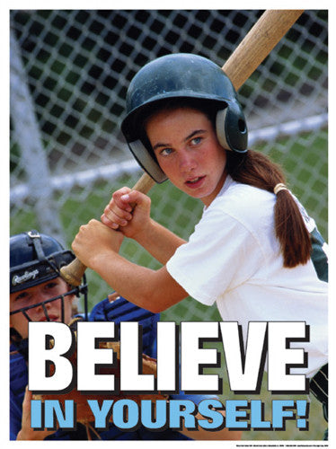 "Girls Baseball ""Believe in Yourself"" Motivational Poster - Fitnus Corp."