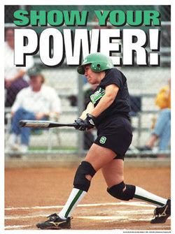 "Girls Softball ""Show Your Power"" Motivational Poster - Fitnus"