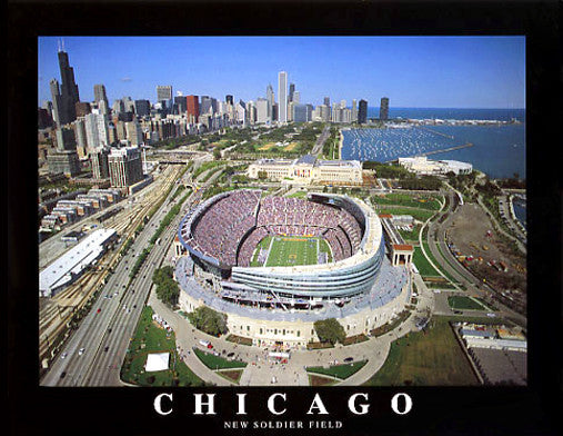 "New Soldier Field ""From Above"" Chicago Bears Poster Print - Aerial Views Inc."