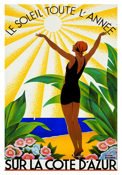 "French Riviera (Cote d'Azur) Beach Life ""Sun All Year"" 1931 Vintage Poster Reprint - Clouets (France)"
