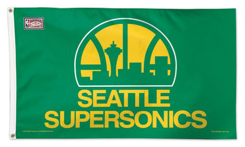 Seattle Supersonics Official NBA Basketball 3'x5' RETRO Deluxe Banner Flag - Wincraft