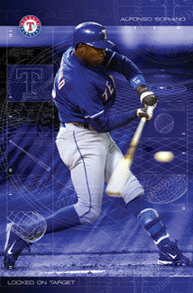 "Alfonso Soriano ""Locked on Target"" Texas Rangers MLB Action Poster - Costacos 2004"
