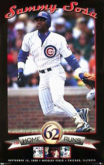 "Sammy Sosa ""62"" Chicago Cubs Poster - Costacos 1998"