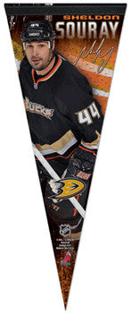 "Sheldon Souray ""Signature Series"" Anaheim Ducks Premium Felt Collector's Pennant - Wincraft"