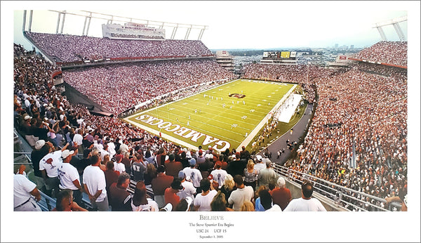 "South Carolina Gamecocks Football ""Believe"" Williams-Brice Stadium Gameday Poster Print"