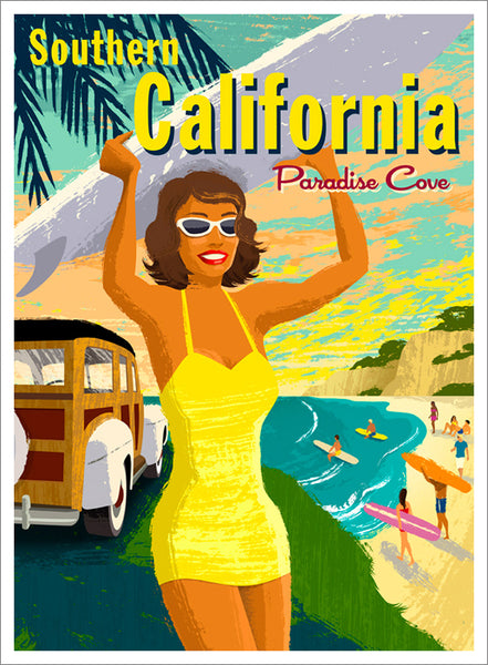 Surfing Paradise Cove Malibu California Beach Life Vintage-Style Poster by Michael Crampton - Eurographics Inc.