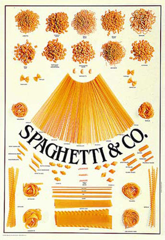 "Italian Pasta (31 Varieties) ""Spaghetti and Co."" Cooking Kitchen Wall Chart Poster - Eurographics"