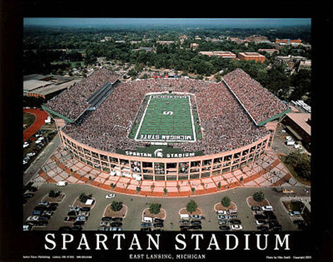 "Spartan Stadium ""From Above"" Michigan State Spartans Premium Poster Print - Aerial Views"