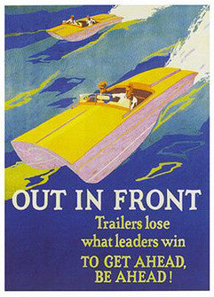 "Vintage Speedboat Racing ""Out In Front"" Poster - ISI"