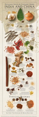 Spices and Culinary Herbs of INDIA AND CHINA Wall Chart Poster by Tim Ziegler and Brian Keating - American Image
