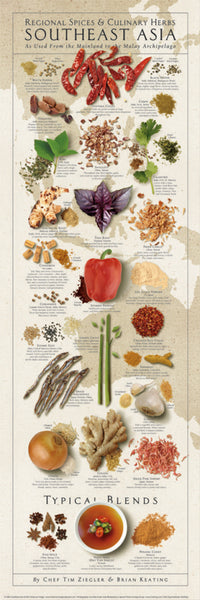 Spices and Culinary Herbs of SOUTHEAST ASIA Wall Chart Poster by Tim Ziegler and Brian Keating - American Image