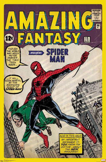 Amazing Fantasy #15 (Spider-Man Debut Aug. 1962) Marvel Comics Cover Poster Reprint - Trends
