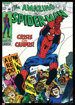 "The Amazing Spider-Man #68 (""Crisis on Campus"") Marvel Comics Official Cover Poster Print"