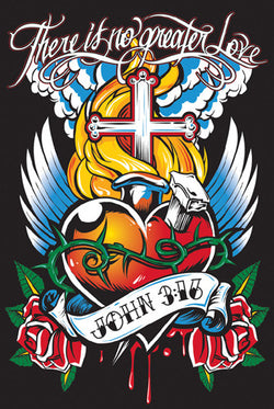 "John 3:16 ""Spiked Heart"" (There Is No Greater Love) Poster - Slingshot Publishing"