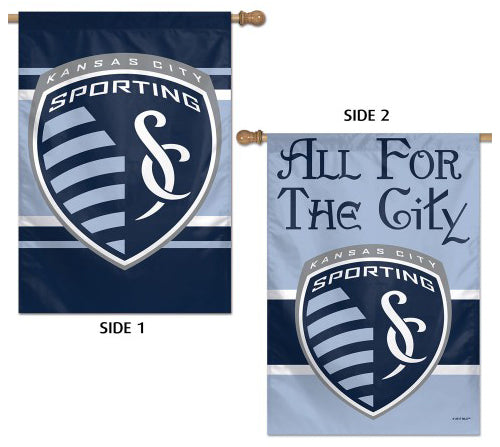 "Sporting Kansas CIty ""All For The City"" Official MLS Soccer Team 2-Sided 28x40 Wall BANNER - Wincraft Inc."