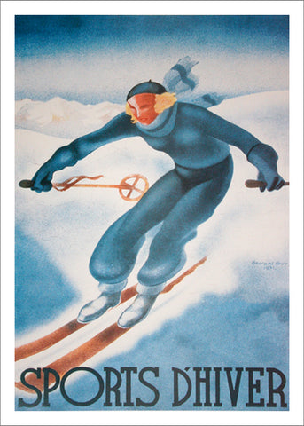 "Skiing in France ""Sports d'Hiver"" by Georges Arou 1931 Vintage Poster Reproduction - Editions Clouets"