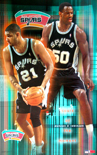 "Tim Duncan and David Robinson ""Spurs of the Moment"" San Antonio Spurs Poster - Starline 2001"
