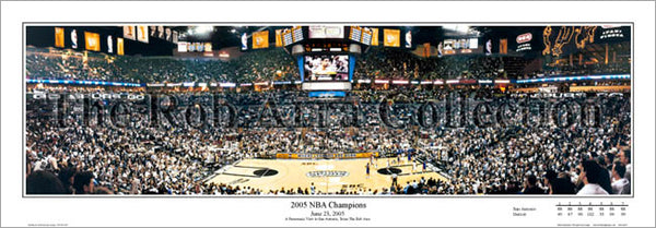 San Antonio Spurs 2005 NBA Champions AT&T Center Panoramic Poster Print - E.I.