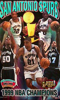San Antonio Spurs 1999 NBA Champions Commemorative Poster - Starline 1999