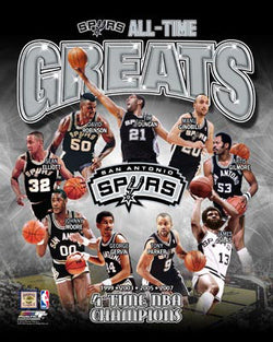 "San Antonio Spurs ""All-Time Greats"" (9 Legends, 4 Championships) Poster Print - Photofile"