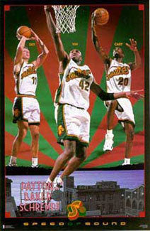 "Seattle Supersonics ""Speed of Sound"" Poster (Payton, Schrempf, Baker) - Costacos 1997"