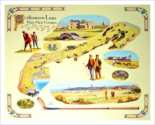 "St. Andrews Links ""The Old Course"" Classic-Style Course Map and Highlights Poster Print - Bentley House 2003"