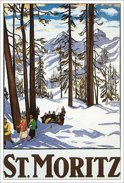"St. Moritz France ""Winter Paradise"" Vintage Cross-Country Skiing Poster by Emil Cardinaux (1918) - Eurographics Reproduction"