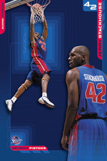 "Jerry Stackhouse ""42 In Blue"" Detroit Pistons Poster - Costacos 2002"