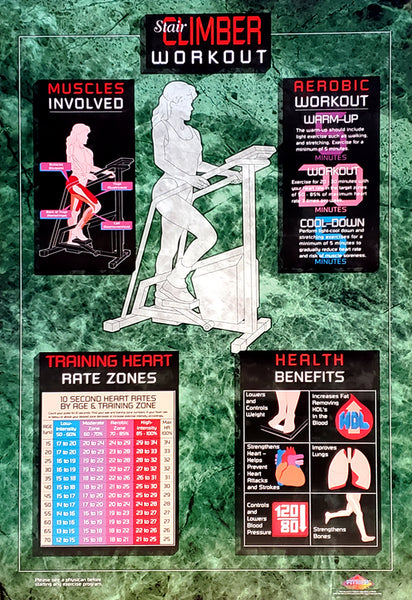 Stair Climber Workout Cardio Fitness Wall Chart Poster - Fitnus Corp.