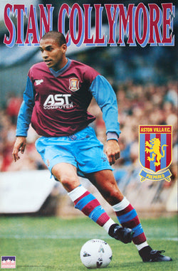 "Stan Collymore ""Action"" Aston Villa FC EPL Football Soccer Poster - Starline 1997"