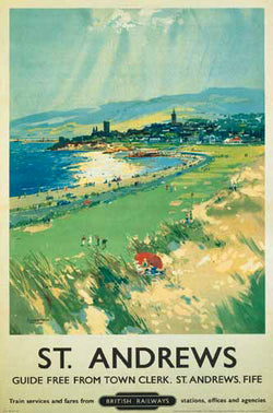 St. Andrews Scotland Vintage Golf Travel Poster Reprint (LMS Railways c.1948) - Front Line