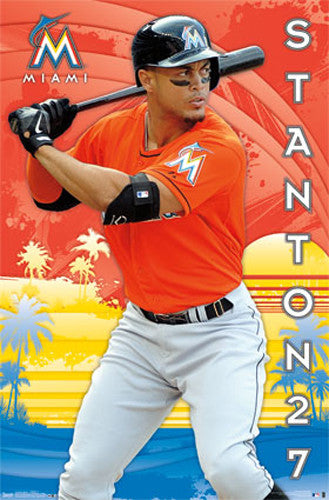 "Giancarlo Stanton ""Miami Masher"" Miami Marlins MLB Baseball Poster - Trends International"