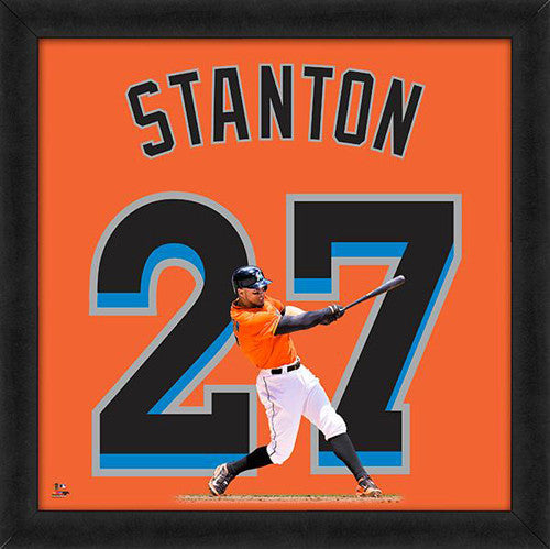 "Giancarlo Stanton ""27 In Orange"" Miami Marlins FRAMED 20x20 UNIFRAME PRINT - Photofile"